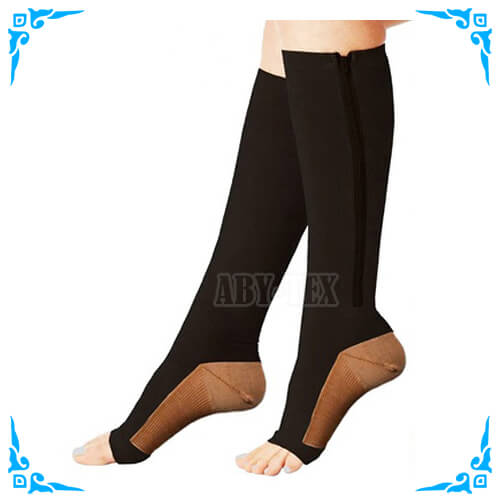 20-30 mmHg Zipper Compression Gold Copper Infused Calf Leg Veins Traveling Energy Support Socks