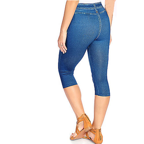 Caresse Jean-Printed Knit Pull-on Capris