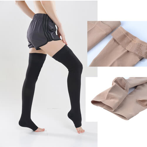 Compression Thigh High Open-toe Socks Graduated Support Prevent Varicose Veins Stocking Silicone Anti-slip