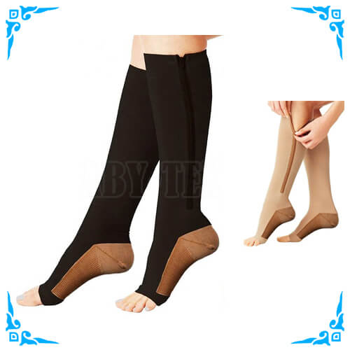 ef8227cfe3 Copper Infused 15-20mmHg Zipper Compression Socks