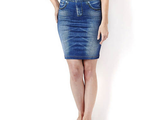 Jean-Printed Knit Knee-Length Fitted Skirt