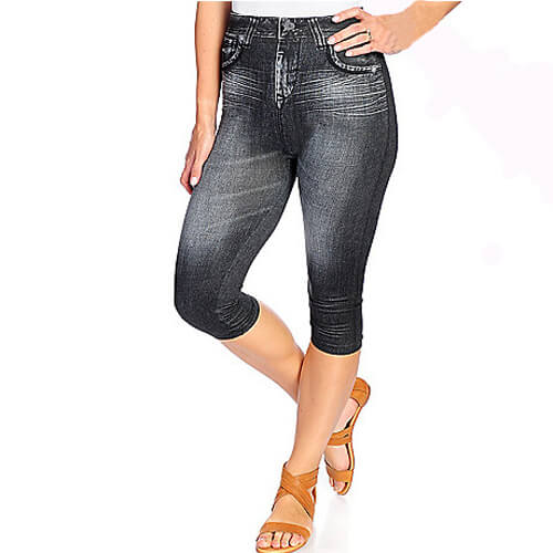 Jean-Printed Knit Pull-on Capris
