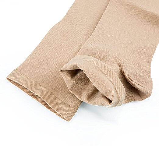 Relief 20-30 Thigh High Open Toe Beige Compression Stockings with Silicone Band