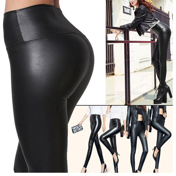 Womens Faux Leather Leggings