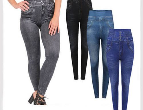 Womens High Waisted Denim Jeggings