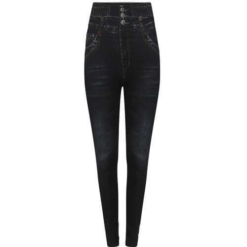Womens High Waisted Denim Look Black Jeggings