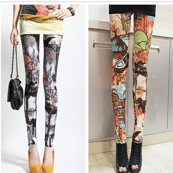 Womens Print Stretch Leggings Footless Tights