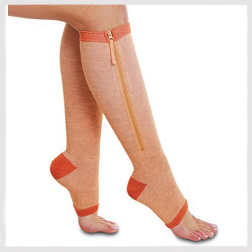 copper compression socks with zipper