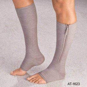 magnetic zipper compression socks Open Toe Compression Knee High Anti-Fatigue Sock Unisex Calf Support Stocking