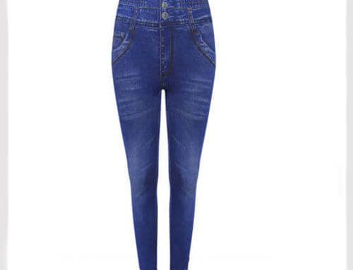 Womens Plus Size High Waisted Denim Look Blue Leggings