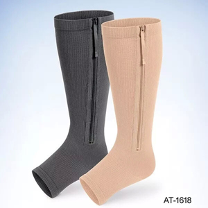 zipper compression stockings Open Toe Compression Knee High Anti-Fatigue Sock Unisex Calf Support Stocking